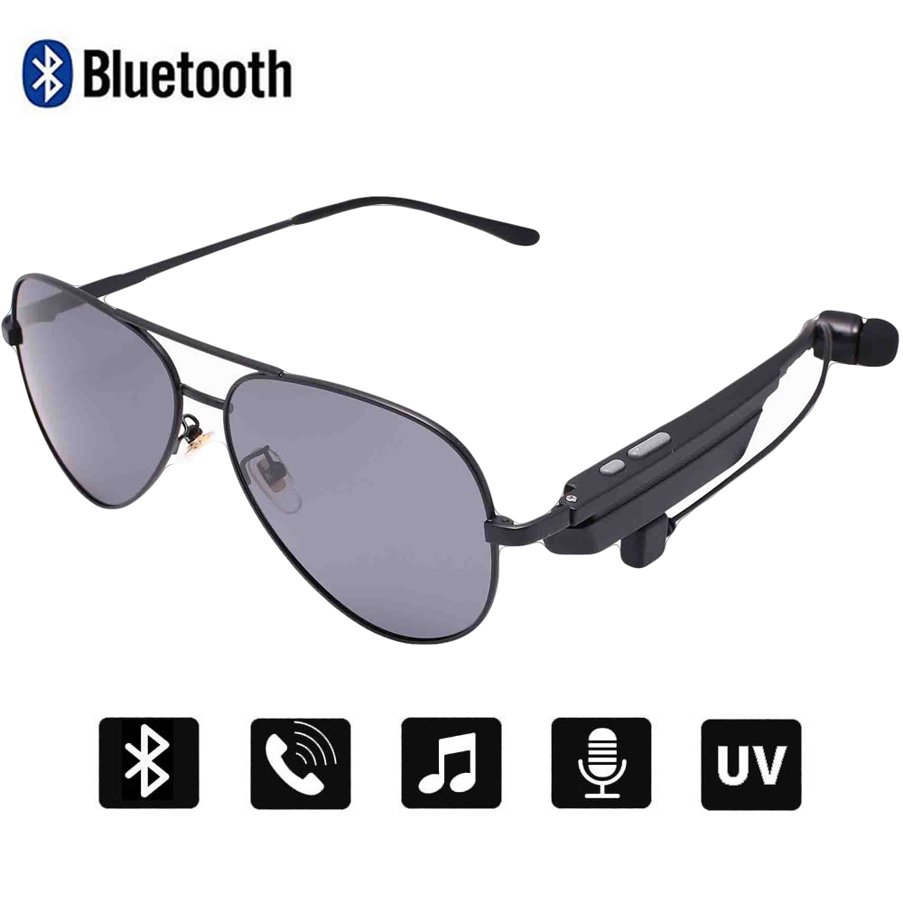 Conway Music Sunglasses Bluetooth Speaker Headsets with Single Earphone Smart Glasses Mens Pilot Driving Sun Glasses Polarized