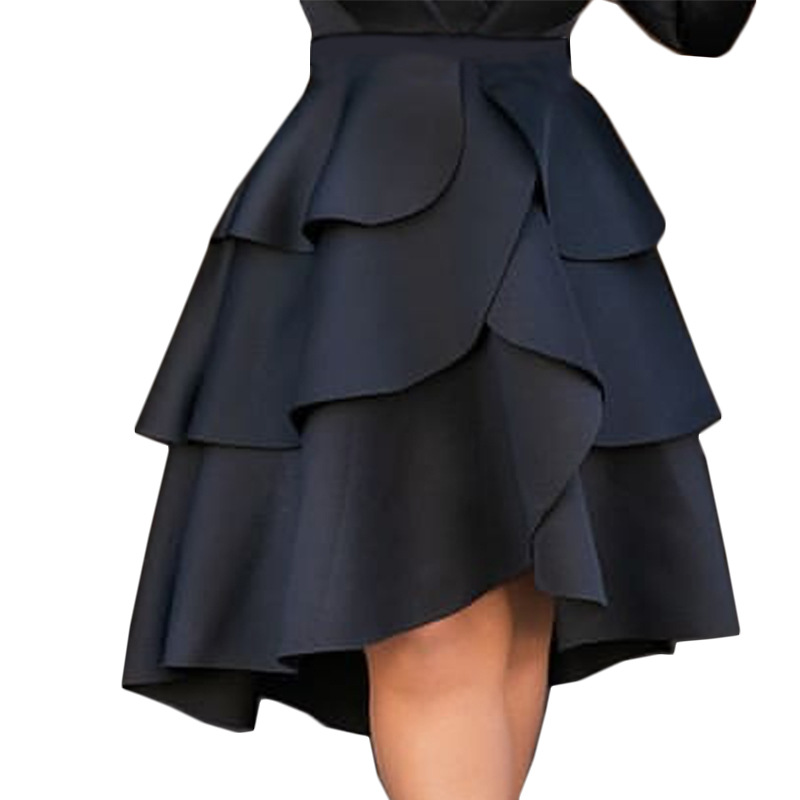 Lolita Party Skirt Korean Fashion Black Midi Skirts Pleated High Waist Women Cake Layer