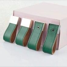 Мягкая Зеленая кожаная ручка для мебели шкафа кожаные ручки