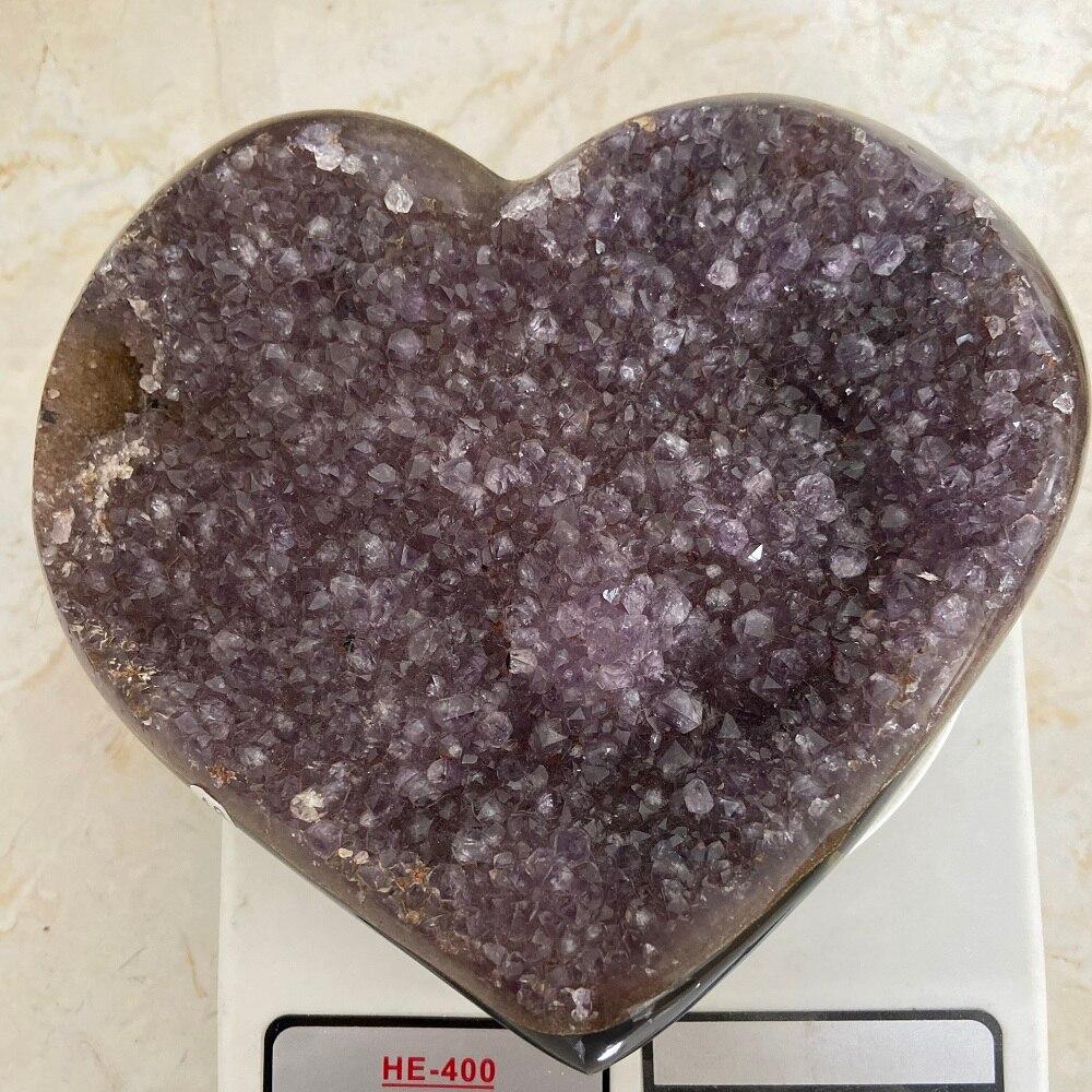 Pierres naturelles améthyste grappe coeur Agate géode cristal grappe de guérison cristaux décorations de maison ou de bureau