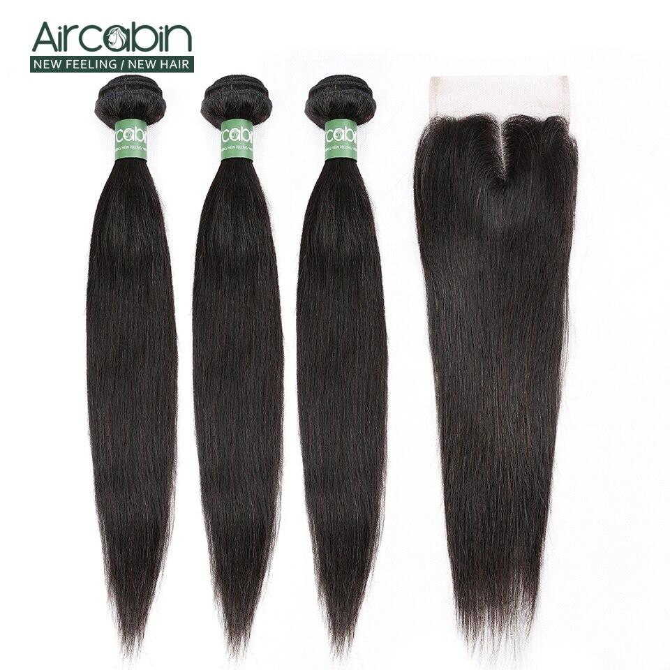 Aircabin Hair Straight Bundles With Closure Malaysia Hair Weave 3 Bundles With Lace Closure Remy Hair Extensions Natural Black