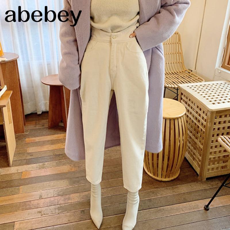 Women Harem Jeans Pants Fashion High Waist Loose White Denim Jeans Female Buttons Trousers Spring 2020 Streetwear