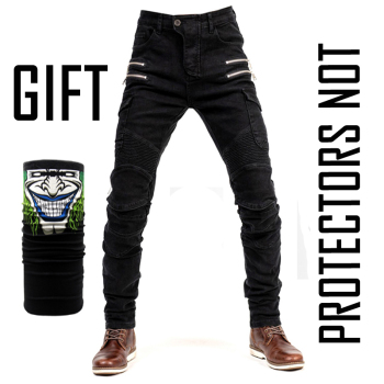 2019 New Khaki Motorcycle Pants Black Men Moto Jeans Zipper Protective Gear Blue Motorbike Trousers Motocross Pants Moto Pants - Hi-07 All Black O, S