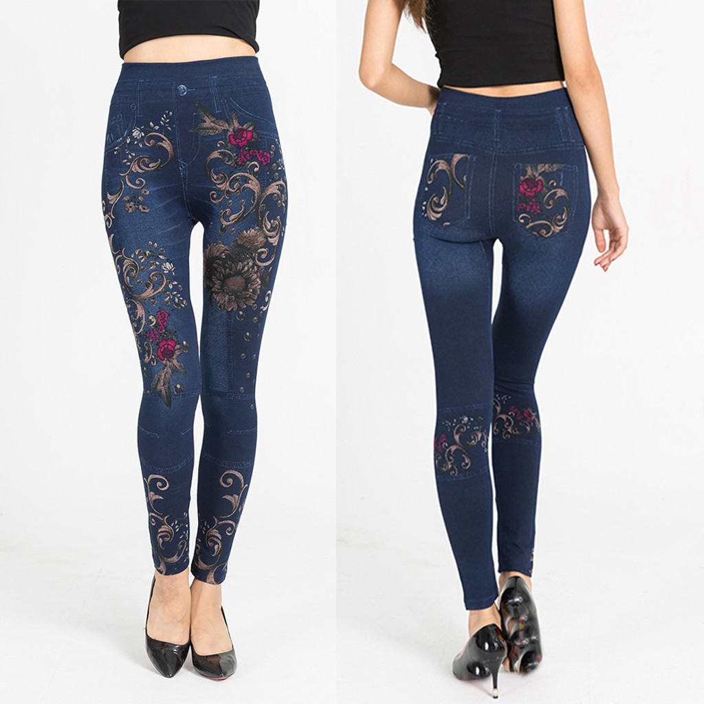2020 women's jeans Casual Cotton high-waist printed imitation denim leggings hip elastic slim Pencil Tights Pants L0830
