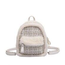 Mała torebka damska 2019 jesień i zima nowe futro wełniana krata torba na ramię moda dziki styl College damski Mini plecak