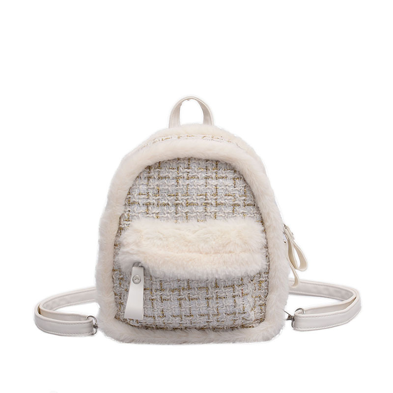 Small Bag Female 2019 Autumn And Winter New Fur Woolen Lattice Shoulder Bag Fashion Wild College Style Women's Mini Backpack