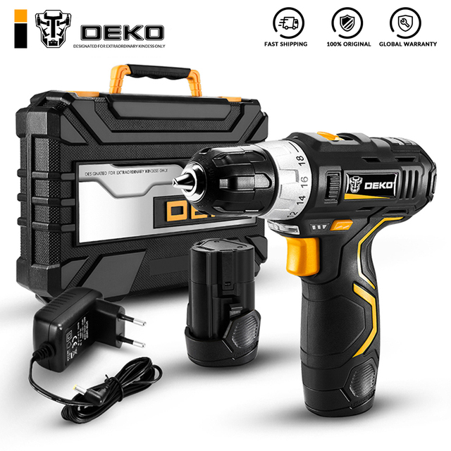 DEKO 12V Cordless Drill Max Electric Screwdriver Power Driver DC Lithium-Ion Battery 3/8-Inch 2-Speed Power Tool