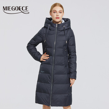 MIEGOFCE 2020 New Winter Womens Jacket Long Warm Down Jacket Stand-up Collar With a Hood Cold Warm Down Coat Windproof  Parkas 1