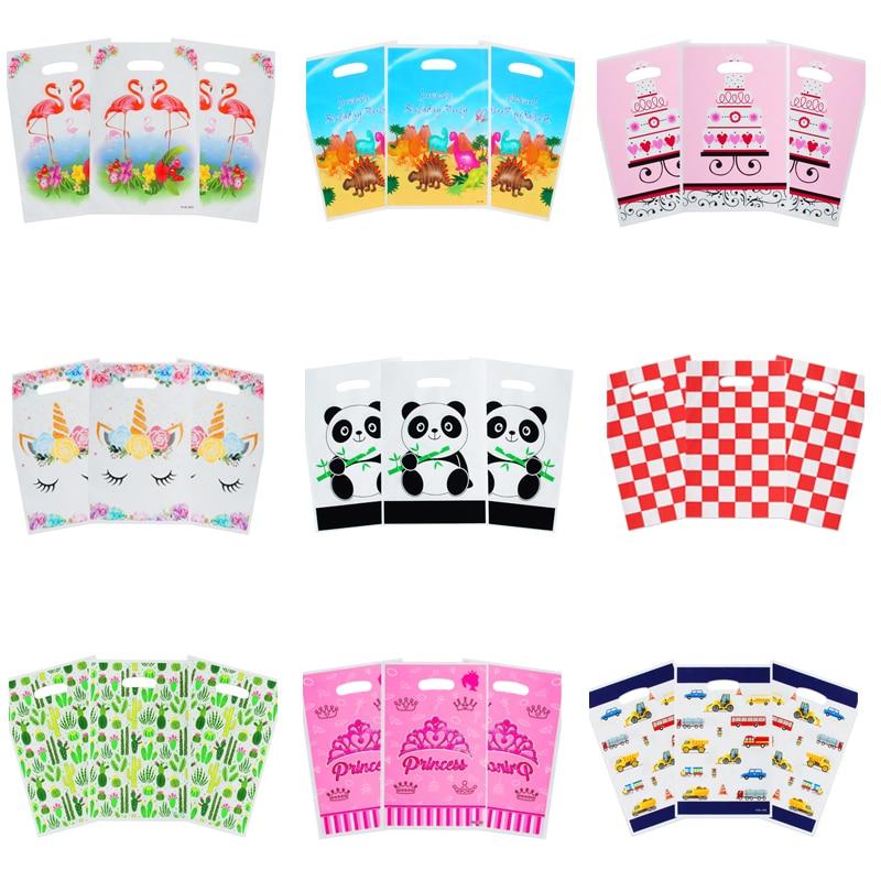 20pcs/lot Unicorn Flamingo Panda Dinosaur Gift Bag Loot Bag Wedding Kids Birthday Party Decoration Supplies Gridlines Candy Bag