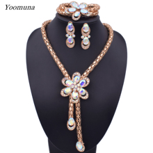 Fashion Indian Bridal Jewelry Sets Dubai Luxury Crystal Wedding African Beads Jewelry Sets For Women's Costume Jewellery Gifts недорого