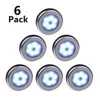 Luz nocturna con Sensor de cuentas, bombilla LED infrarroja PIR de movimiento, encendido y apagado automático, batería de armario para lámpara de pared, armario y escaleras, 6 uds.