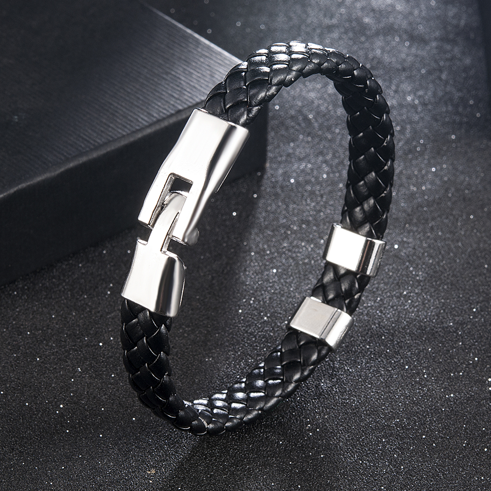 High Quality Men Women Leather Wrap Wristband Cuff Magnetic Clasp Bracelet Stainless Steel Buckle Clasp Bracelets Jewelry 3