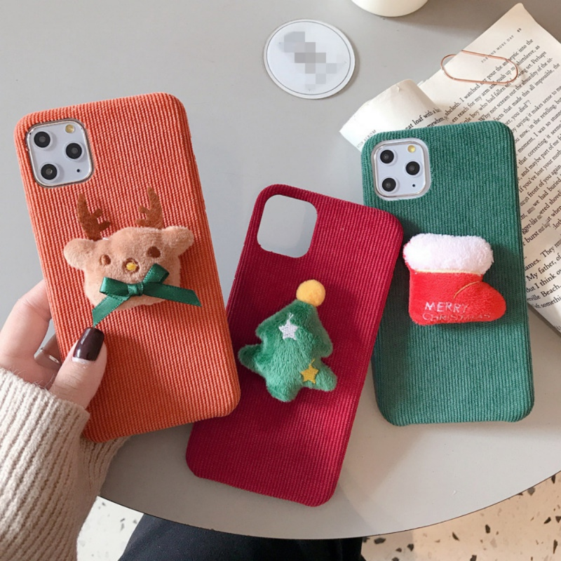 Cartoon Christmas Elk Mobile Case Warm Corduroy Anti Fall Soft Shell Phone Protective Cover Winter Gifts For Iphone 11 Pro Max (US STOCK)