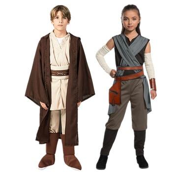 Star Rey War Cosplay Costume Kids Jedi Warrior Obi Wan Kenobi Black Soldiers Storm Troopers The Force Awakens Girls Fancy Dress - discount item  18% OFF Costumes & Accessories