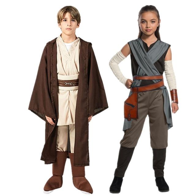 Star Rey War Cosplay Costume Kids Jedi Warrior Obi Wan Kenobi Black Soldiers Storm Troopers The Force Awakens Girls Fancy Dress