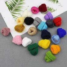 Chapéus de tricô mini diy, suplementos de artesanato, acessórios de cabelo de crochê, broche de joias e decorações de brinquedos pequenos, 10-50 peças tampas