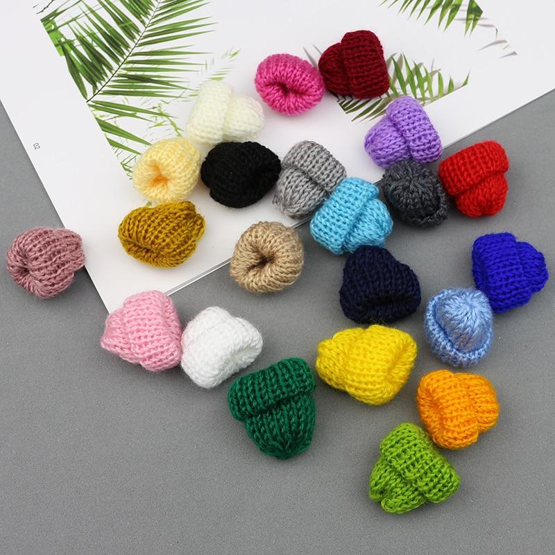 10-50Pcs Knitting Mini Hats DIY Craft Supplie Kids Headwear Hair Accessories Brooch Crochet Toys Jewelry Ornaments Small Caps