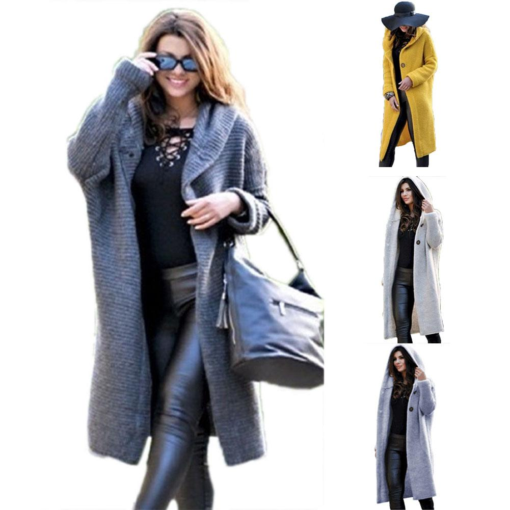 2019 New Women Autumn Fashion Thick Casual Solid Color Knitted Button Long Sleeve Hooded Midi Overcoat Solid Warm Trench Coats