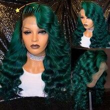 Topodmido cor verde perucas da parte dianteira do laço para as mulheres peruano remy cabelo 13x4 frente do laço perucas de cabelo humano pré arrancadas perucas da onda do corpo