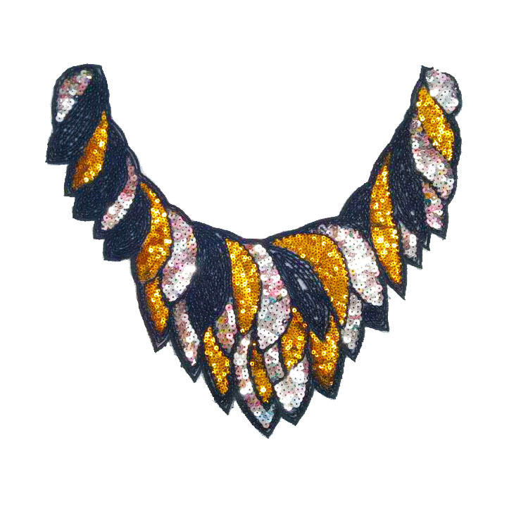 Clothing Accessories Fashion Beaded Sequins Round Neck Cloth Patch Multicolor Clothes Hot Melt Collar Flower Soft