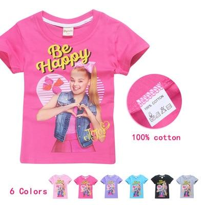 JOJO SIWA/Хлопковые футболки для девочек 4-12 лет, 2019 летняя футболка с короткими рукавами для детей, футболка для маленьких девочек