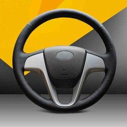 مخيط يدويا غطاء عجلة القيادة الجلدية السوداء لشركة هيونداي سولاريس فيرنا I20 اللكنة
