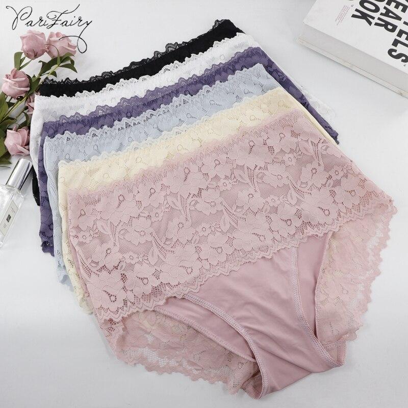 PariFairy Super Big Size Sexy Lace Underwear Women High Waist Knickers Lace Panties Mesh Lingerie Seamless Briefs 3XL 4XL 5XL