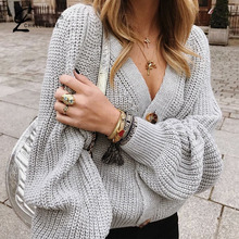 CHRLEISURE Full Sleeve Women Knitting Cardigan Sweater Sexy Ladies V-neck Casual Loose Solid Coat Female