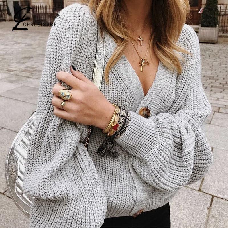 CHRLEISURE Women Knitting Cardigan Sweater Full Sleeve Sexy Ladies Casual Kardigan Loose Solid Female Cardigan Coat