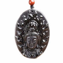 Natural Obsidian Buddhist Guanyin Necklace Pendant Hand Carved Black Jewel Bodhisattva Lucky Amulet natural obsidian stone carved maitreya buddha pendant necklace jewelry unisex men women lucky amulet pendant free beads chain