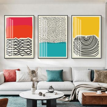 Modern Multicolored Red Blue Abstract Geometric Wall Art Canvas Painting Picture Poster and Print Gallery Living Room Home Decor