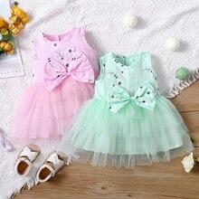 Лето 2021, детское летнее платье для маленьких девочек, платья принцессы из тюля без рукавов с цветочным бантом и пачкой, одежда
