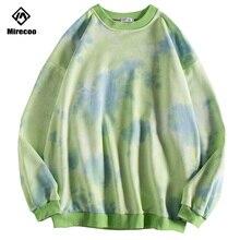 Mirecoo Hoodies Men Tie dyeing Loose Printed Sweatshirt O-Neck Harajuku High Street Hip Hop Fashion Clothing Autumn 2019