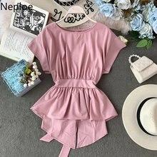Neploe Ruffles şifon kadınlar bluz İlkbahar 2021 katı O boyun kısa kollu gömlek moda pileli Lace Up kadın üstleri 81059