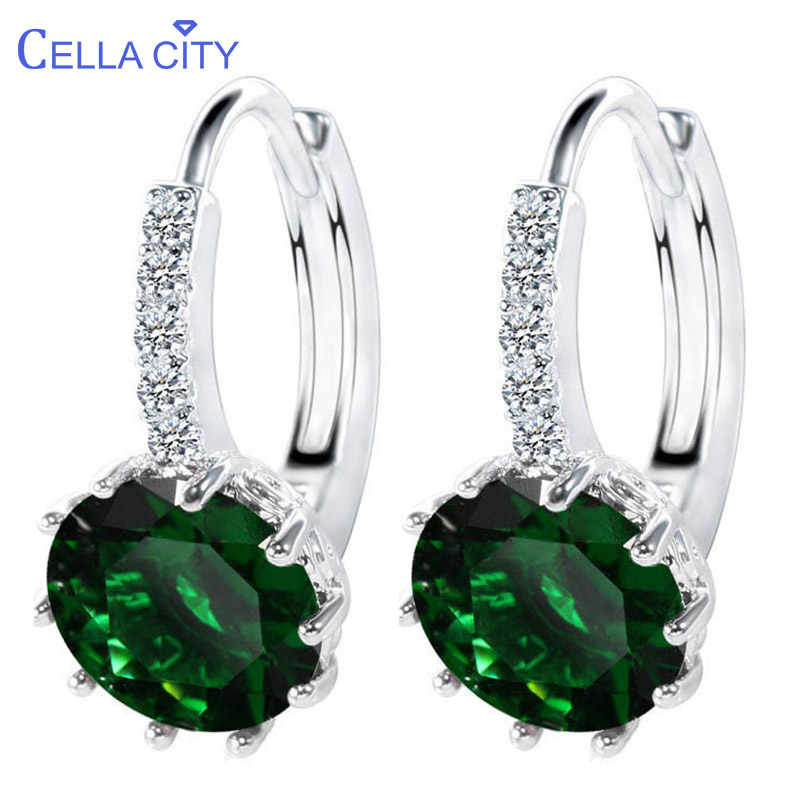 Cellacity 12 style optional Trendy Silver 925 Jewelry Gemstones Earrings for Women Short style Ear drops with 10mm Zircon Party