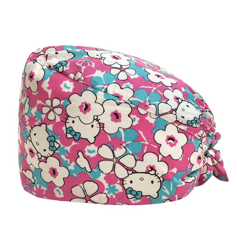 Factory Sales Directly Big Sales Medical Scrubs In Different Patterns Surgical Caps Scrub Caps Cartoon Print Beauty Salon Hats