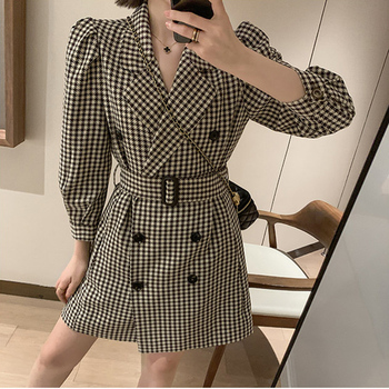 Women Fashion Sashes Plaid Suit Jacket Autumn 2020 New Puff Sleeve Button Blazer Woman Double Breasted Long Outwear Femme OL za women double breasted check blazer long sleeve lapel collar blazer front flap pockets double breasted front button fastening