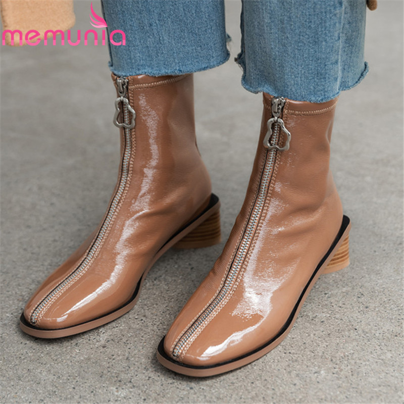 MEMUNIA 2020 top quality patent leather ankle boots women zip autumn winter med heels dress shoes simple fashion boots woman