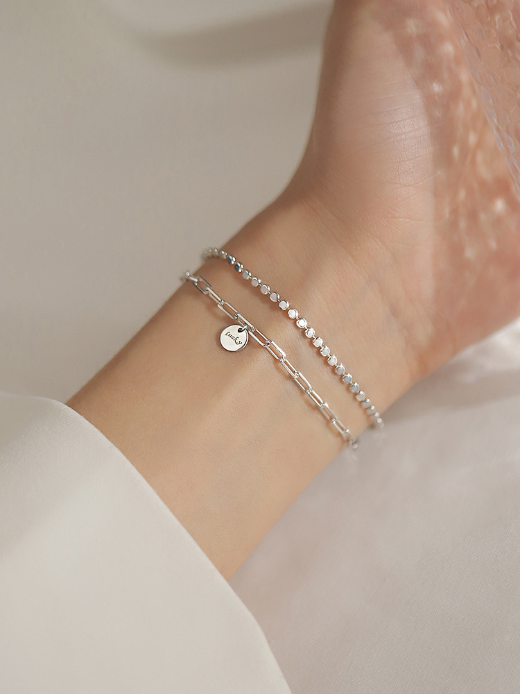 s925 sterling silver bracelet with double lucky round card simple design lucky bracelet cold wind jewelry for female