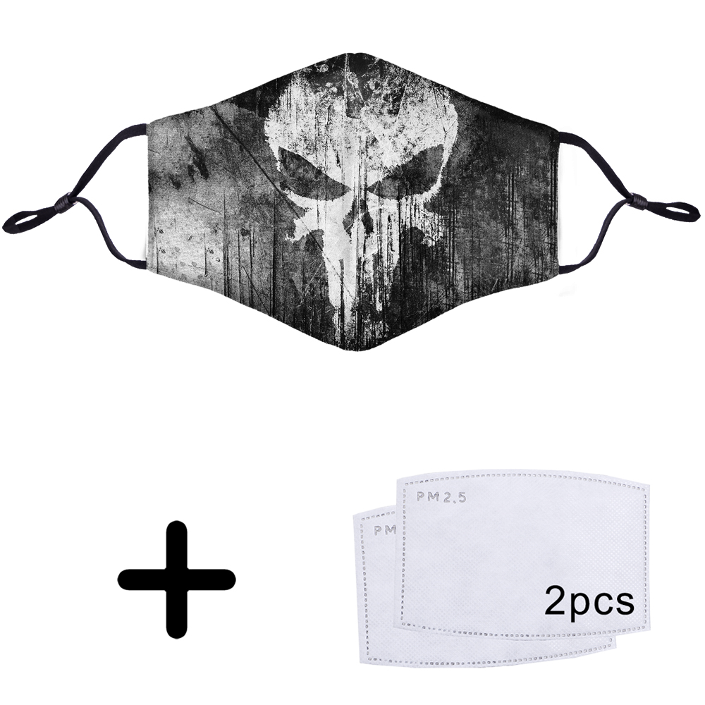 Skull Swag Hip Hop Punk Rock Cool 3D Filtered Dust Mask Pattern Face Mouth PM2.5 Mouth With Free Filter 2 Pcs Dustproof Masks