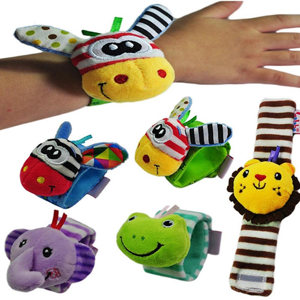 Infant Baby Watch Wrist Strap Rattles Toy Cartoon Animal Wrist Band Decora Toy Baby Foot Socks Wrist Strap Baby Educational Toys