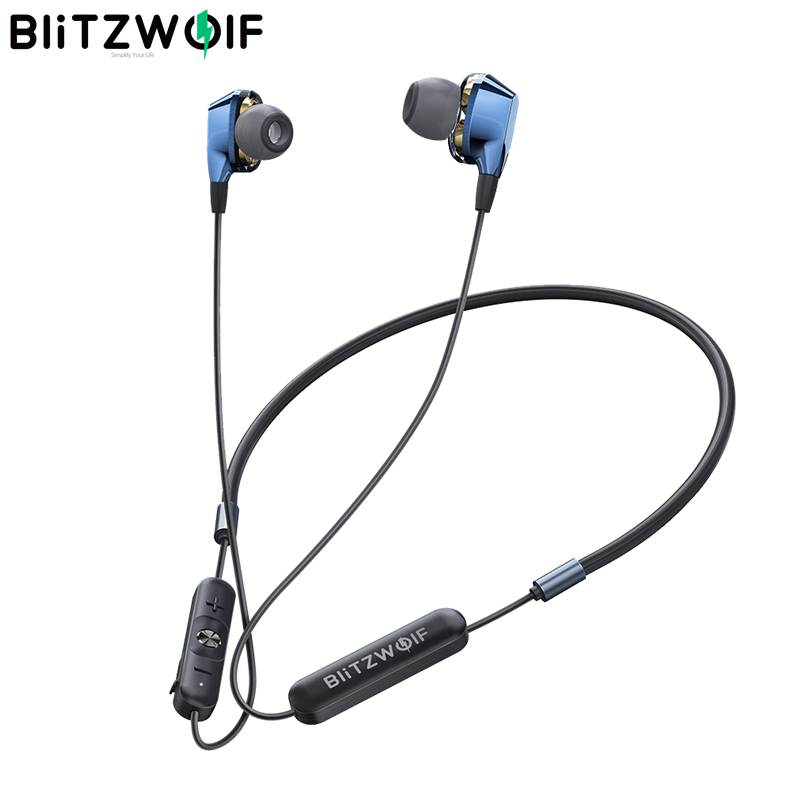 Dual Dynamic Drivers   BlitzWolf bluetooth 5 0 Earphone Wireless Neckband Magnetic Sports Earbuds with Mic Wired Control