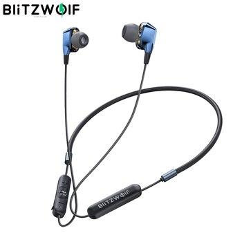 [Çift dinamik sürücüler] BlitzWolf bluetooth 5.0 kulaklık kablosuz boyun bandı manyetik spor mikrofonlu kulaklık kablolu kumanda