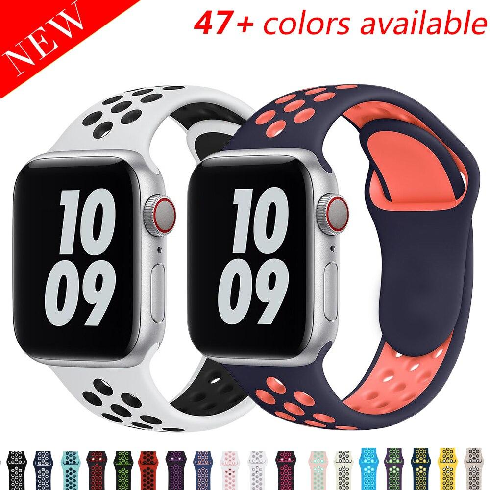 Ремешок силиконовый для Apple Watch band 44 мм 40 мм 38 мм 42 мм, дышащий спортивный браслет для наручных часов iWatch Series 6 SE 5 4 3 40 42 44 мм