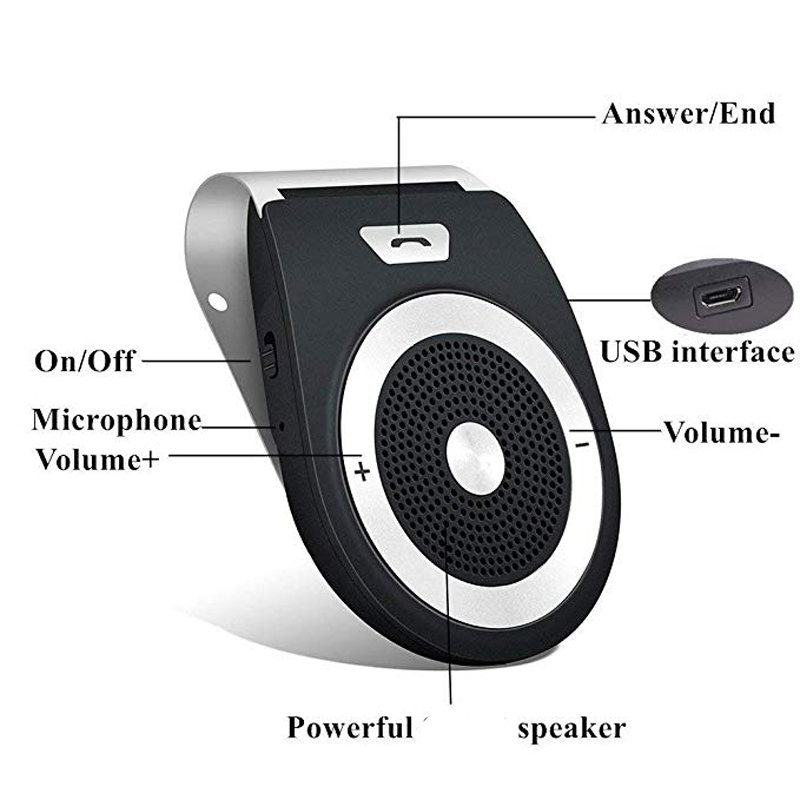 Bluetooth Car Speaker AUTO POWER ON Wireless In Car Speakerphone Handsfree Sun Visor Car Kit for GPS Music google Siri in Bluetooth Car Kit from Automobiles Motorcycles