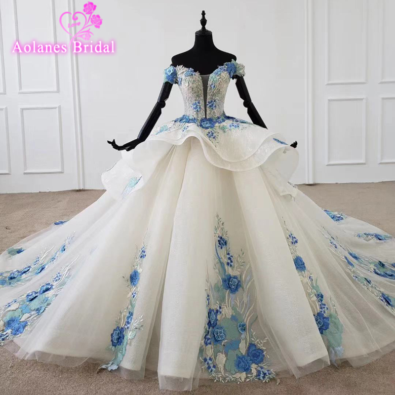 Blue Lace New Design Bridal Dress Ball Gown Wedding Royal Sposa Dressess 2020 Custom Made Bridal Dresses Puffy Skirt Bridal Gown