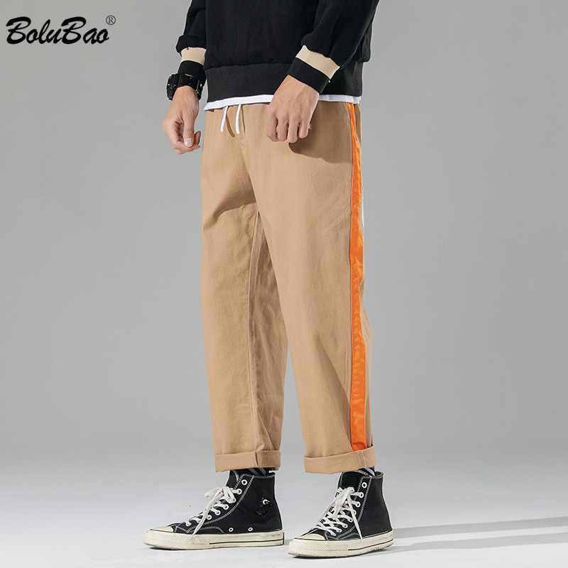 BOLUBAO 2020 New Men Casual Pants Trend Brand Men's Patchwork Wild Straight Pants Comfortable Loose Drawstring Pants Male