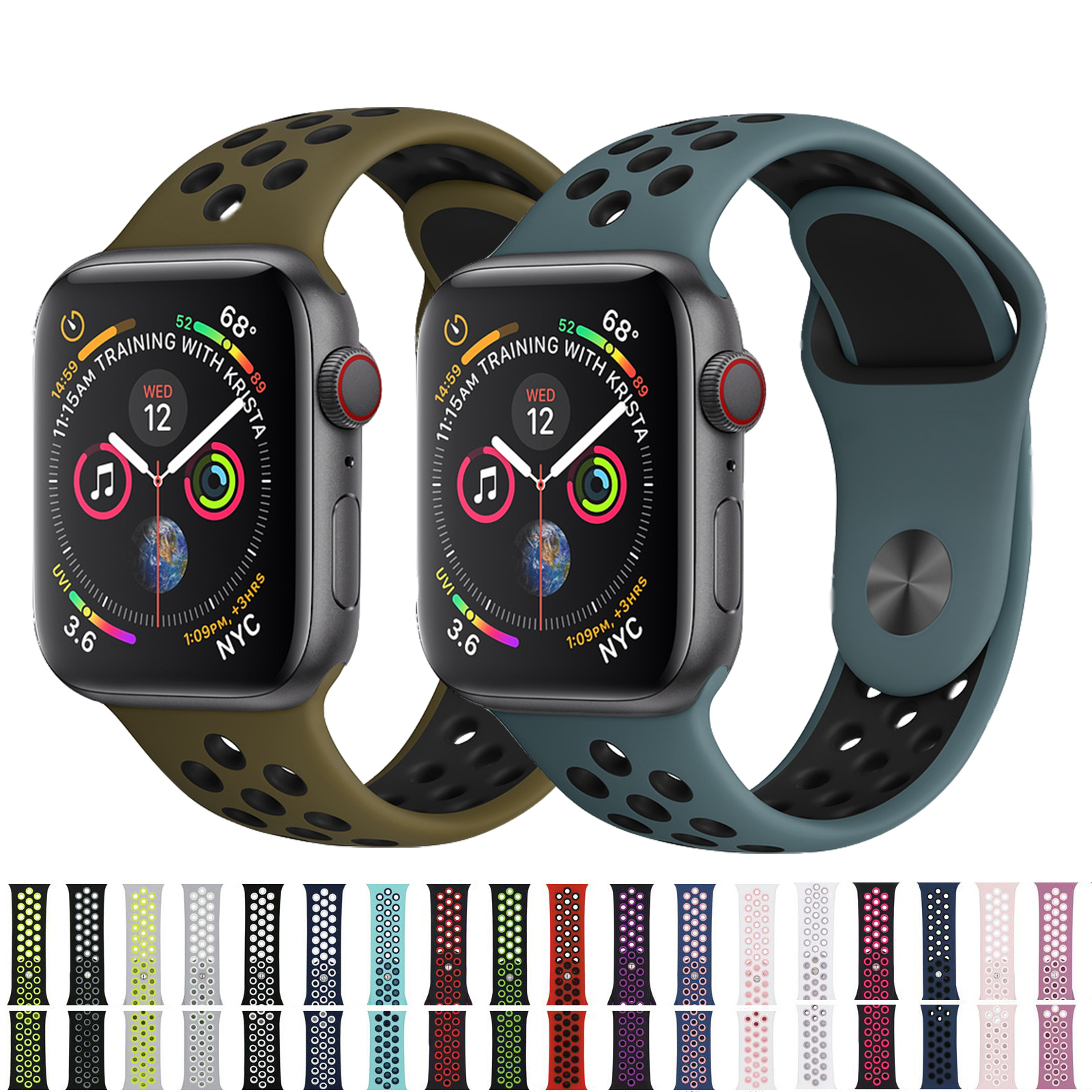 The Fashionable Sports Silicone Watch Strap Is Apple Watch Band 42mm 38mm 40mm 44mm Bracelet  Iwatch Series 5/4/3/2/1