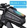 Newboler bolsa de ciclismo à prova de chuva, estojo para celular, touch screen, mtb, acessórios de bicicleta, para cano superior, refletor 12