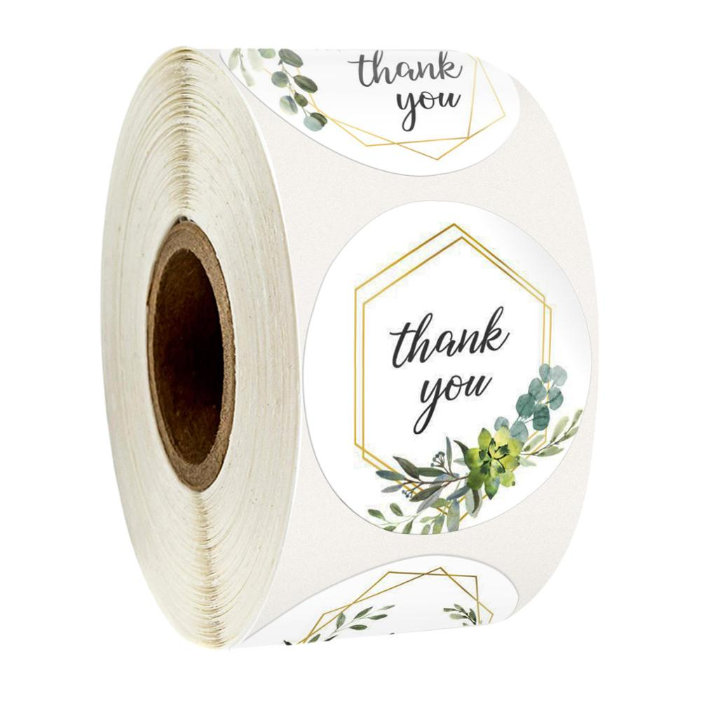 500pcs / Roll 1 Inch Floral Thank You Stickers Seal Label Handmade Custom Sticker Gift Decoration Children Stationery Stickers